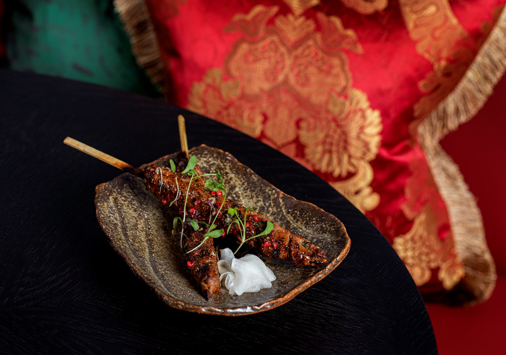 the ivy asia spiced beef and lamb skewer